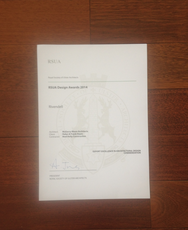 RSUA Design Award Certificate