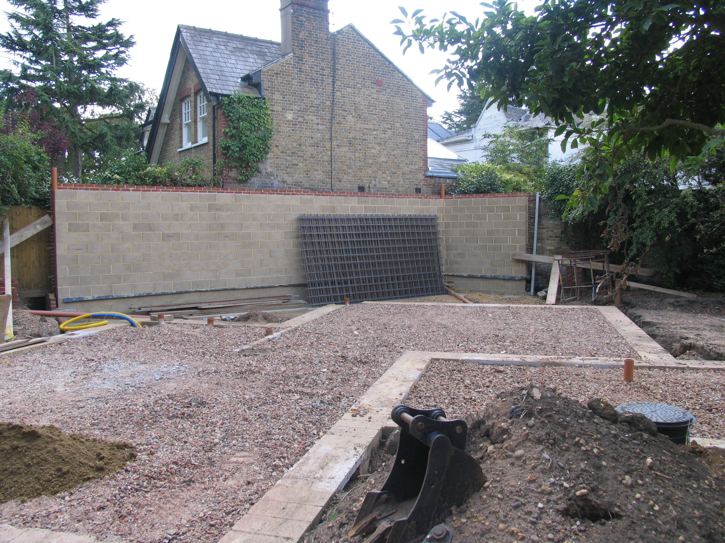garden room party wall constructed