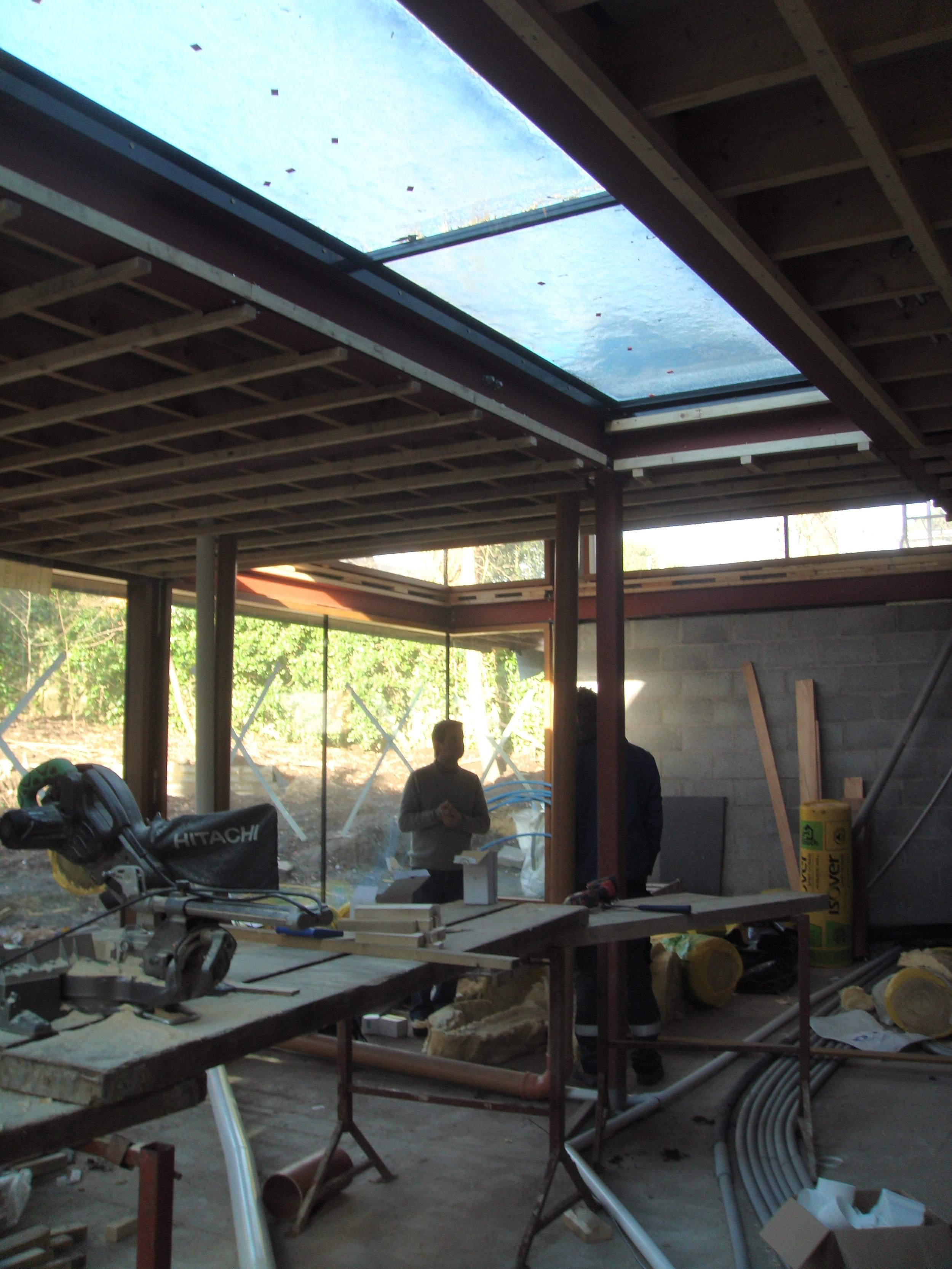 glazed rooflight over kitchen.