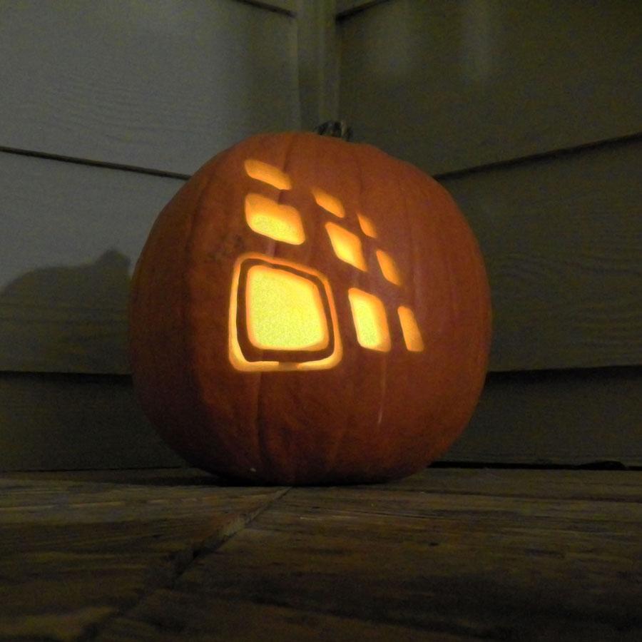 Trig Innovation logo in a pumpkin
