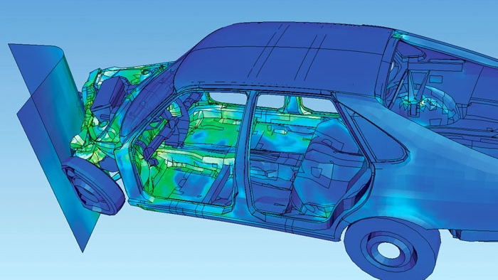 Visualization of how a car deforms in an asymmetrical crash using finite element analysis (FEA).