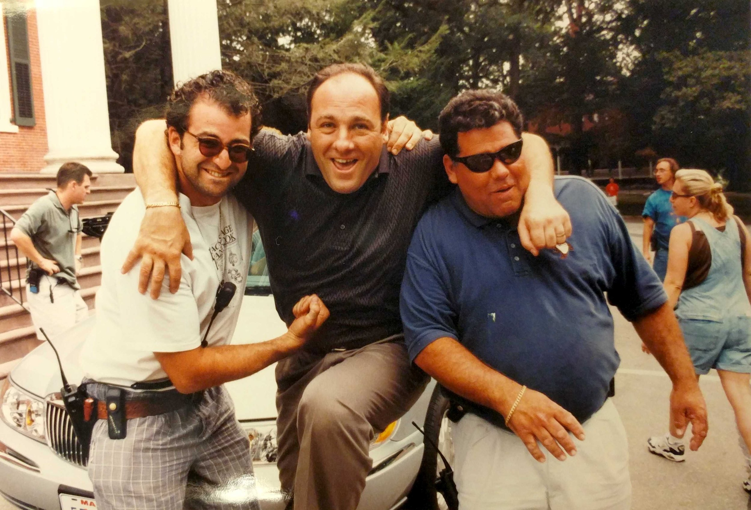 From left to right, Andrew DiMeo, James Gandolfini, and Joseph Badalucco Jr. on the set of The Sopranos
