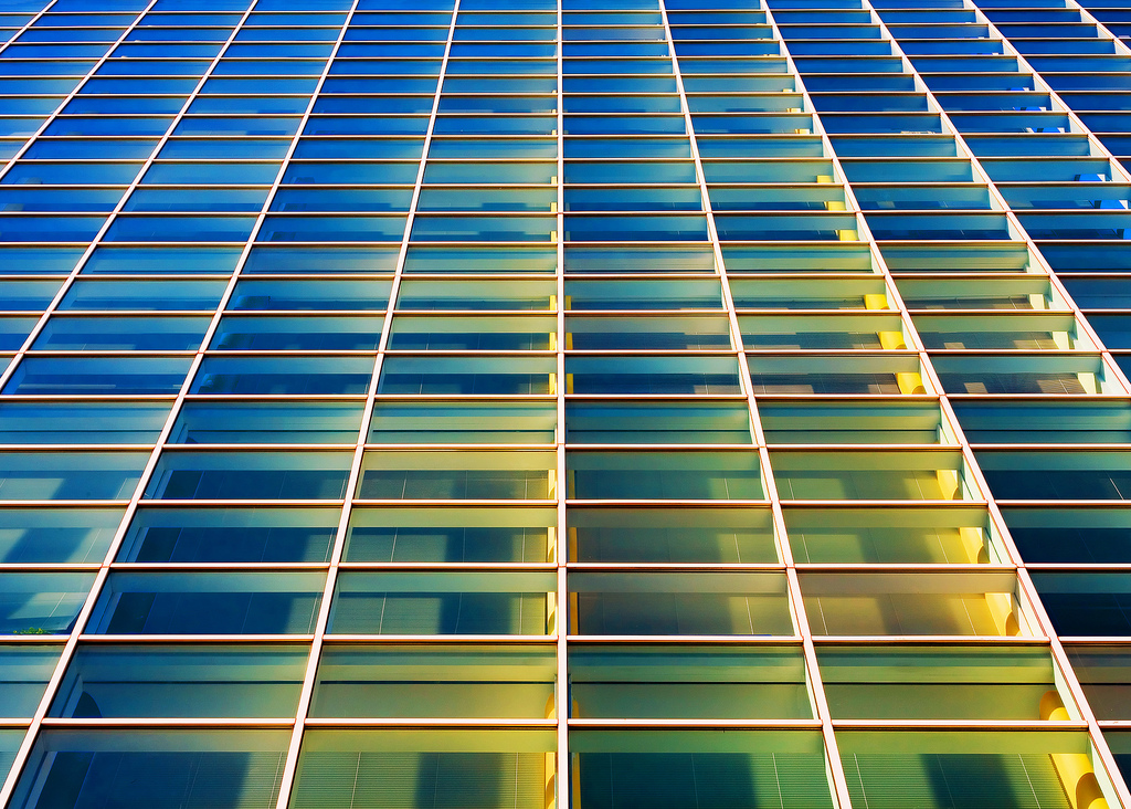 Looking up the side of a glass office building, just like things are looking up here at TODDKLASSY.com.  → Buy a Print