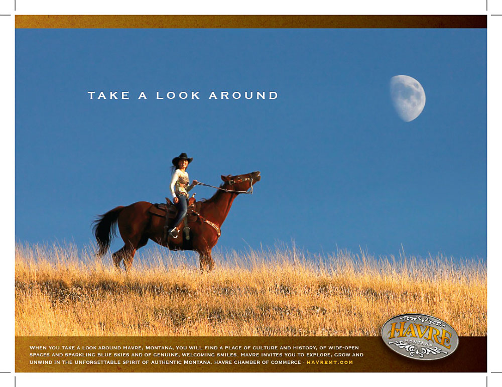 A photo of a Havre, Montana area cowgirl graces this ad for this promotional ad for the Havre Chamber of Commerce.   → Buy a Print