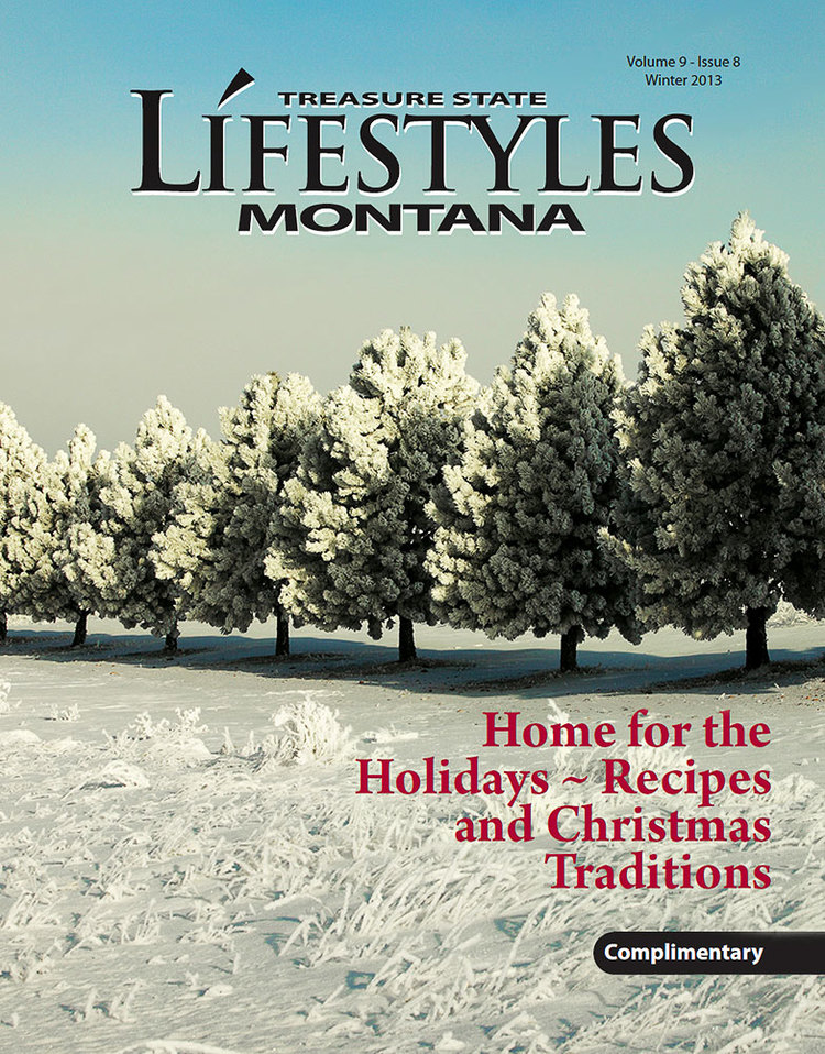 A row of pine trees covered with hoarfrost outside of Havre, Montana on the cover of Montana Lifestyles Magazine.  → Buy a Print