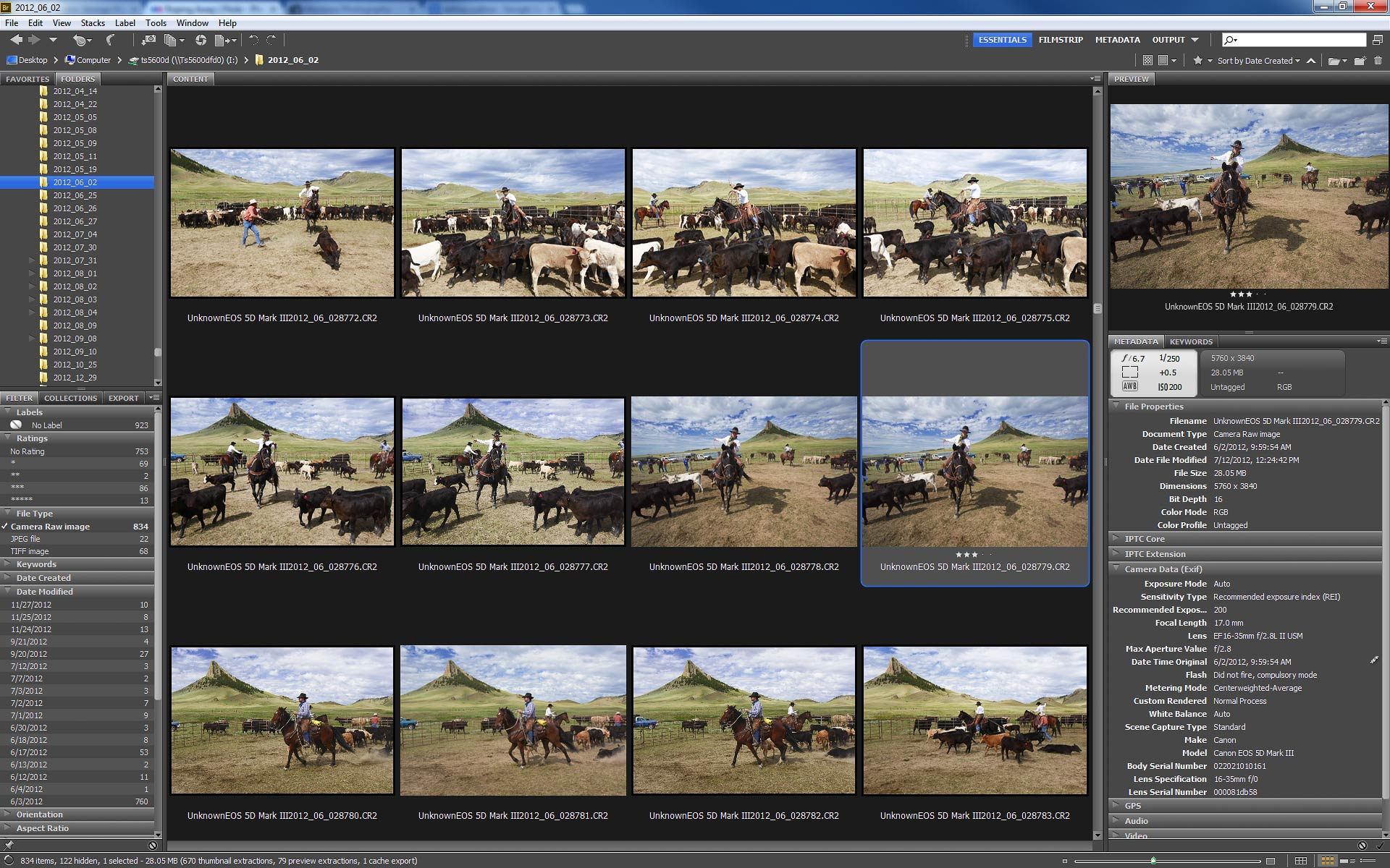 """Adobe Bridge, which shows the shots before and after the photo """"Roping Away."""""""