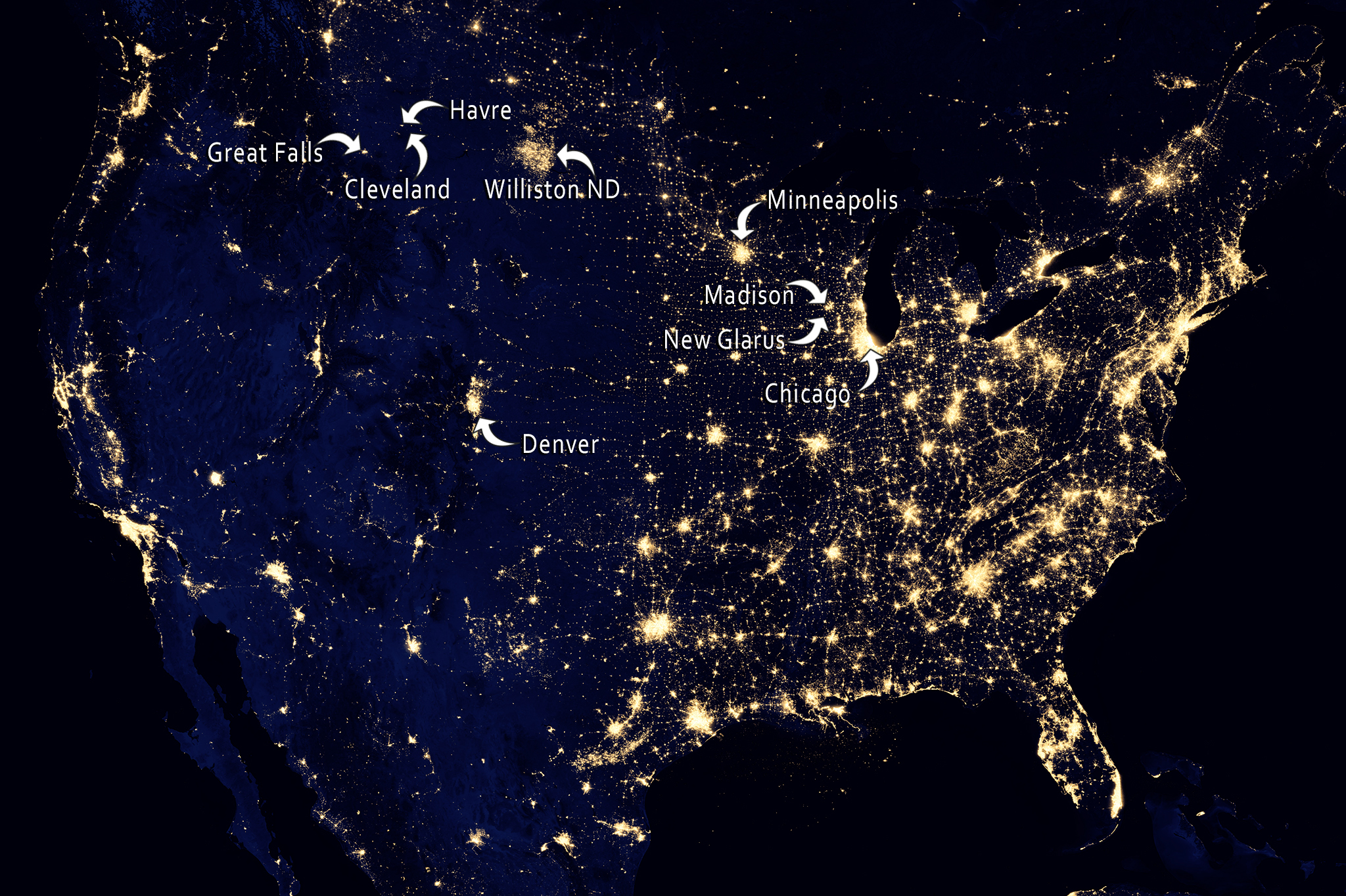 """NASA image acquired April 18 - October 23, 2012This image of the United States of America at night is a composite assembled from data acquired by the Suomi NPP satellite in April and October 2012. The image was made possible by the new satellite's """"day-night band"""" of the Visible Infrared Imaging Radiometer Suite (VIIRS), which detects light in a range of wavelengths from green to near-infrared and uses filtering techniques to observe dim signals such as city lights, gas flares, auroras, wildfires, and reflected moonlight.""""Nighttime light is the most interesting data that I've had a chance to work with,"""" says Chris Elvidge, who leads the Earth Observation Group at NOAA's National Geophysical Data Center. """"I'm always amazed at what city light images show us about human activity."""" His research group has been approached by scientists seeking to model the distribution of carbon dioxide emissions from fossil fuels and to monitor the activity of commercial fishing fleets. Biologists have examined how urban growth has fragmented animal habitat. Elvidge even learned once of a study of dictatorships in various parts of the world and how nighttime lights had a tendency to expand in the dictator's hometown or province.Named for satellite meteorology pioneer Verner Suomi, NPP flies over any given point on Earth's surface twice each day at roughly 1:30 a.m. and p.m. The polar-orbiting satellite flies 824 kilometers (512 miles) above the surface, sending its data once per orbit to a ground station in Svalbard, Norway, and continuously to local direct broadcast users distributed around the world. Suomi NPP is managed by NASA with operational support from NOAA and its Joint Polar Satellite System, which manages the satellite's ground system.NASA Earth Observatory image by Robert Simmon, using Suomi NPP VIIRS data provided courtesy of Chris Elvidge (NOAA National Geophysical Data Center). Suomi NPP is the result of a partnership between NASA, NOAA, and t"""
