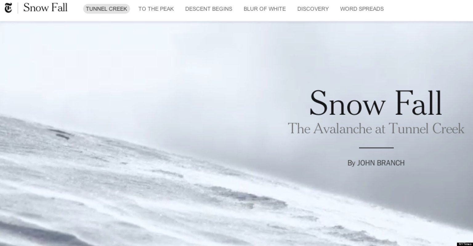 The New York Times story Snow Fall was considered a breakthrough in interactive, multimedia rich web design.