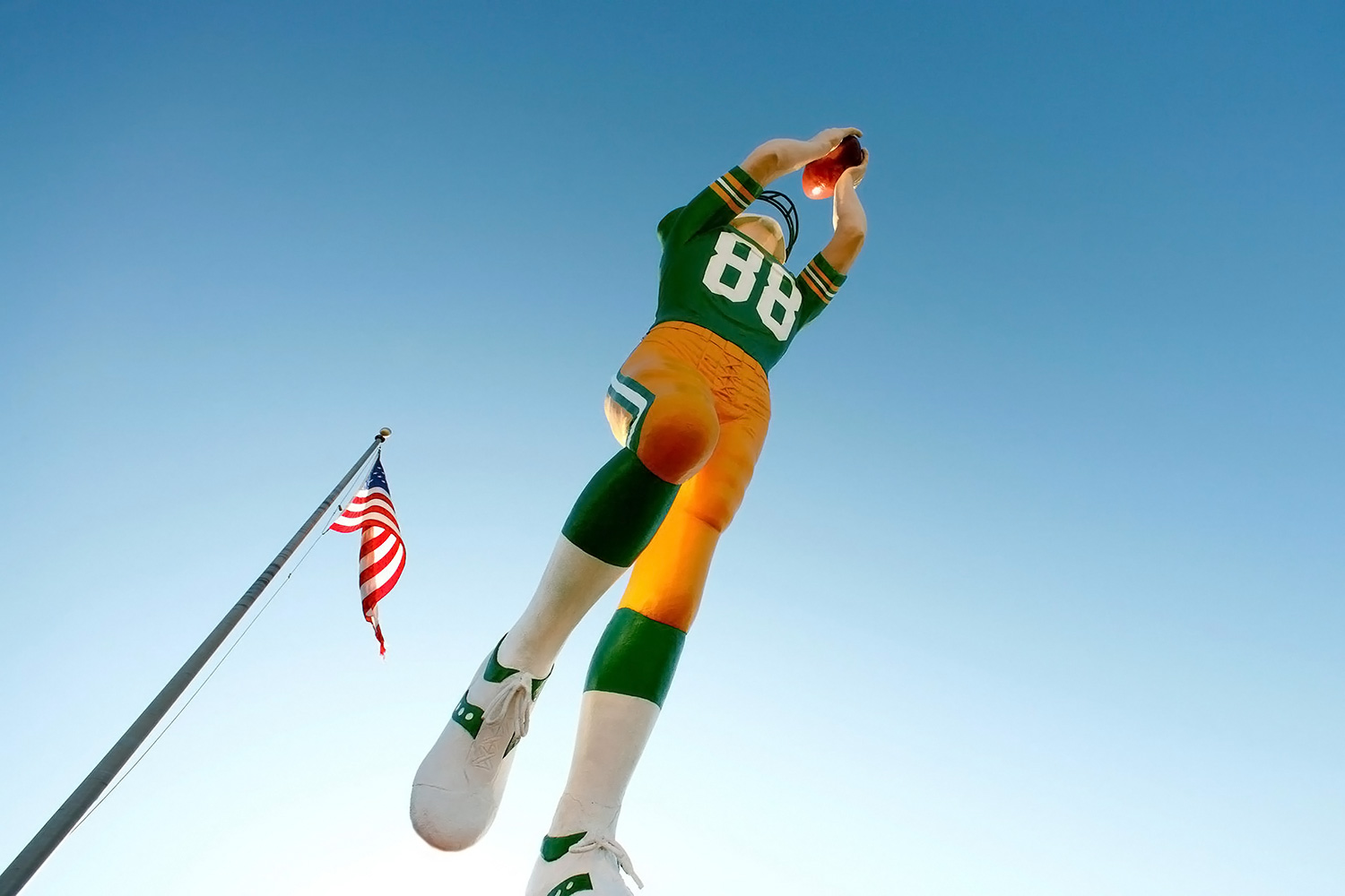 """The """"Packers Receiver"""" statue, which is a landmark in downtown Green Bay, Wisconsin.   → Buy a Print"""