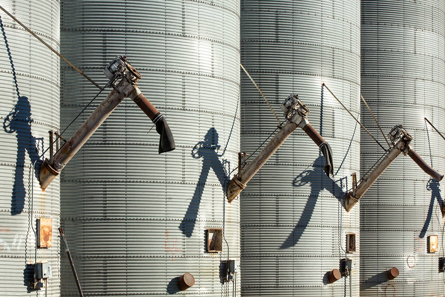 Augers on the side of massive grain bins at a grain elevator in Malta, Montana.    → Buy a Print