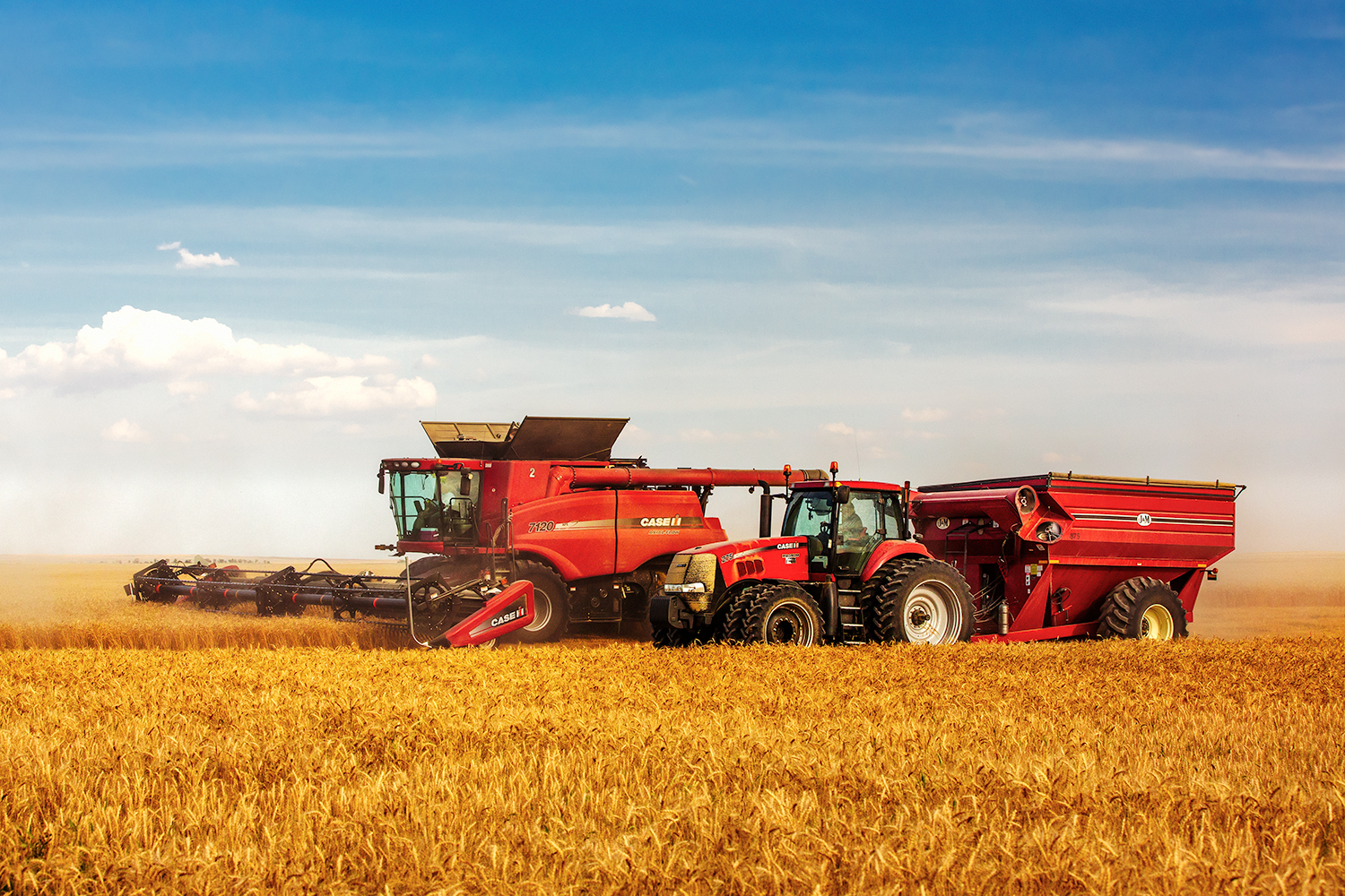 A tractor drives along side a combine while harvesting wheat in a field near Simpson, Montana.     → Buy a Print