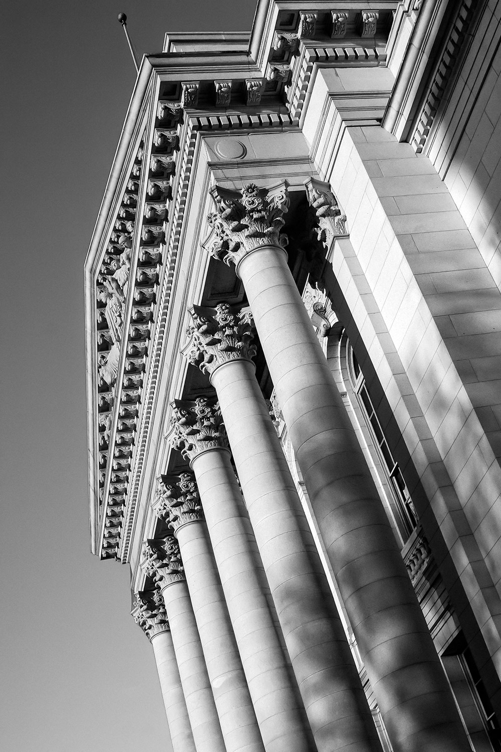 A vertical view of the columns on the Wisconsin State Capitol in Madison, Wisconsin.   → Buy a Print
