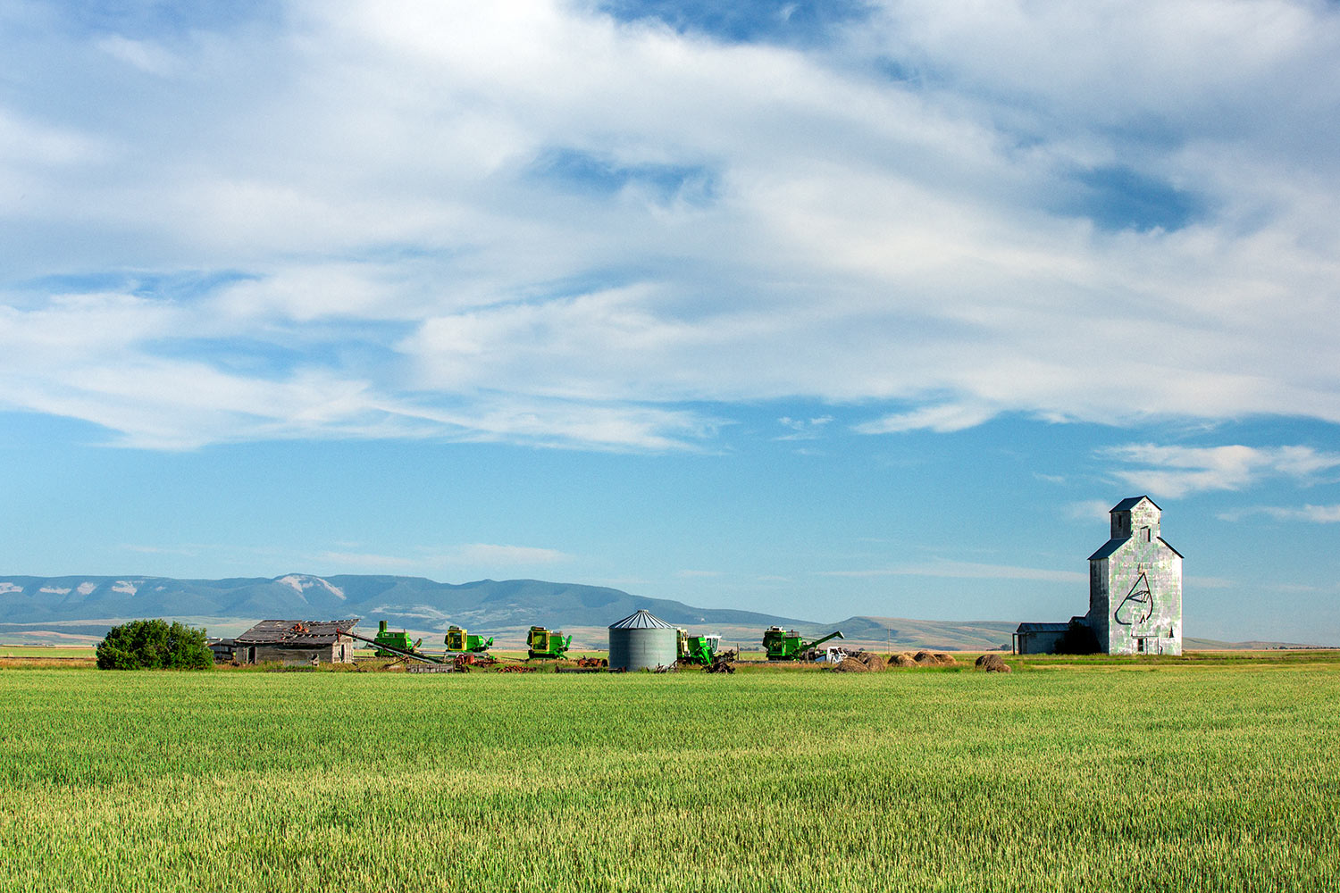 A row of farm machinery and a grain elevator in the former railroad town called Ross Fork, Montana.   → Buy a Print
