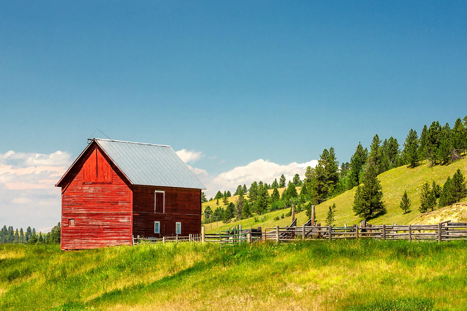 A small red shed on a ranch in the Snowy Mountains near Forest Grove, Montana.  → Buy a Print  or   License Photo