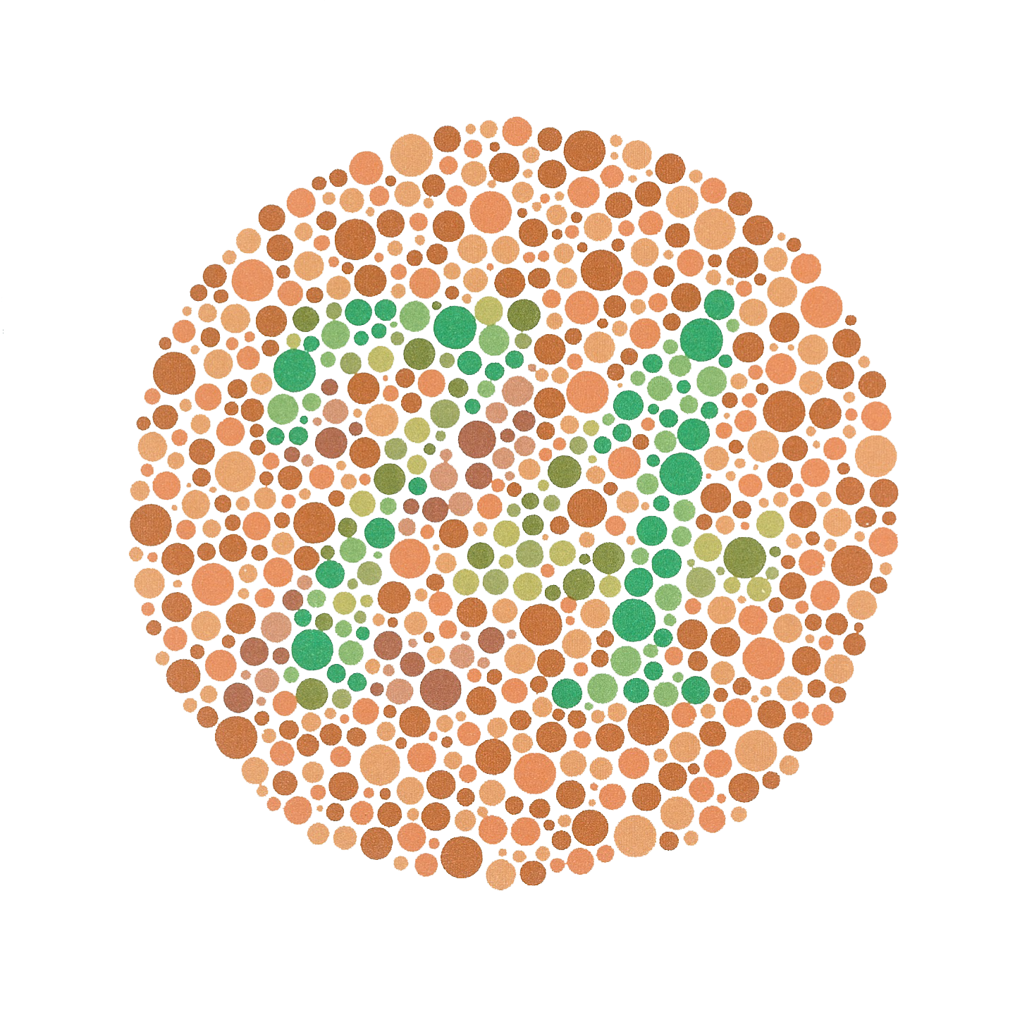 An example of an Ishihara color test plate. The number 74 should be clearly visible if you have normal color vision.