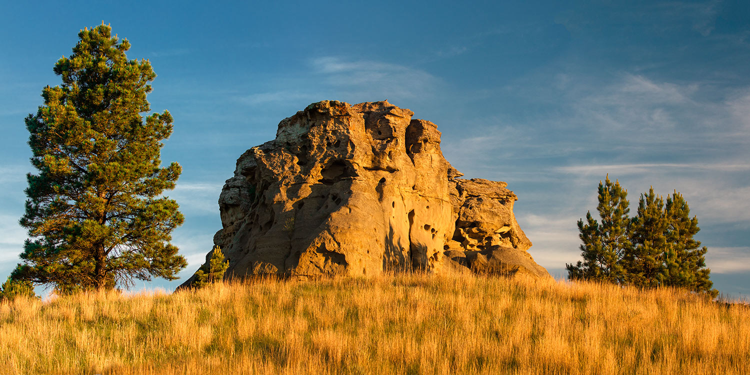 An early morning view of a rock formation at Medicine Rocks State Park near Ekalaka, Montana.   → Buy a Print   or   License Photo