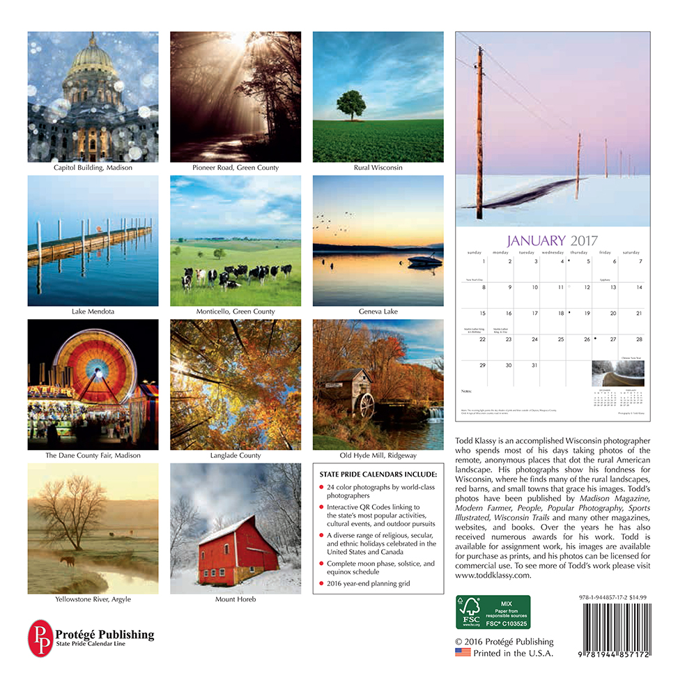 2017 Wisconsin Calendar Back