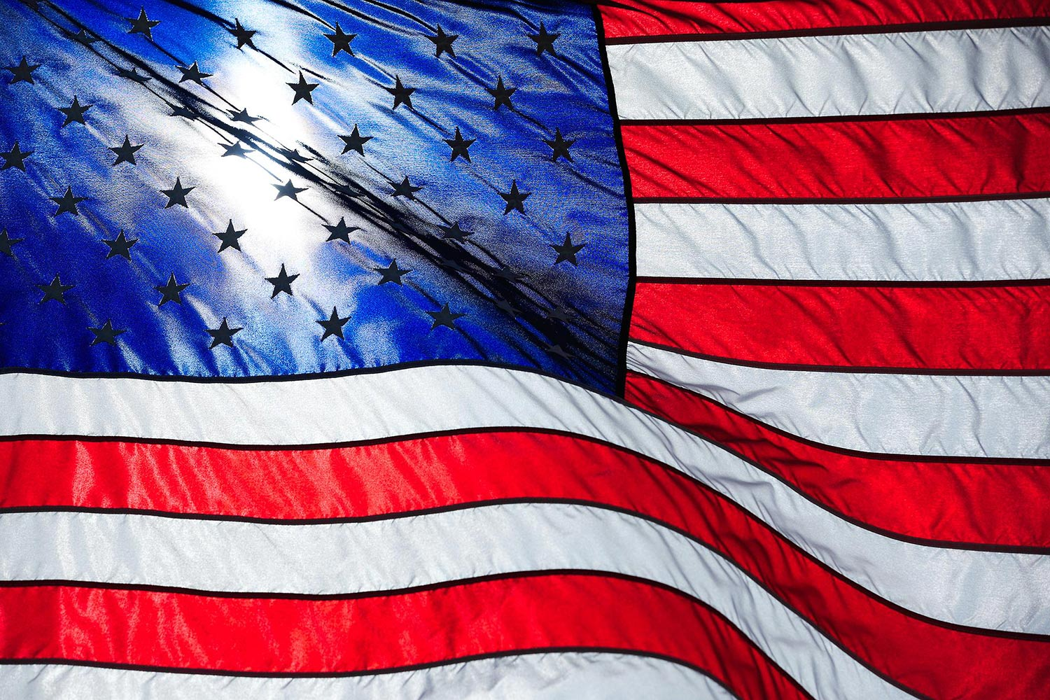 One of the many flags on display at the White Sulphur Springs cemetery in Montana on Memorial Day.  → Buy a Print  or   License Photo