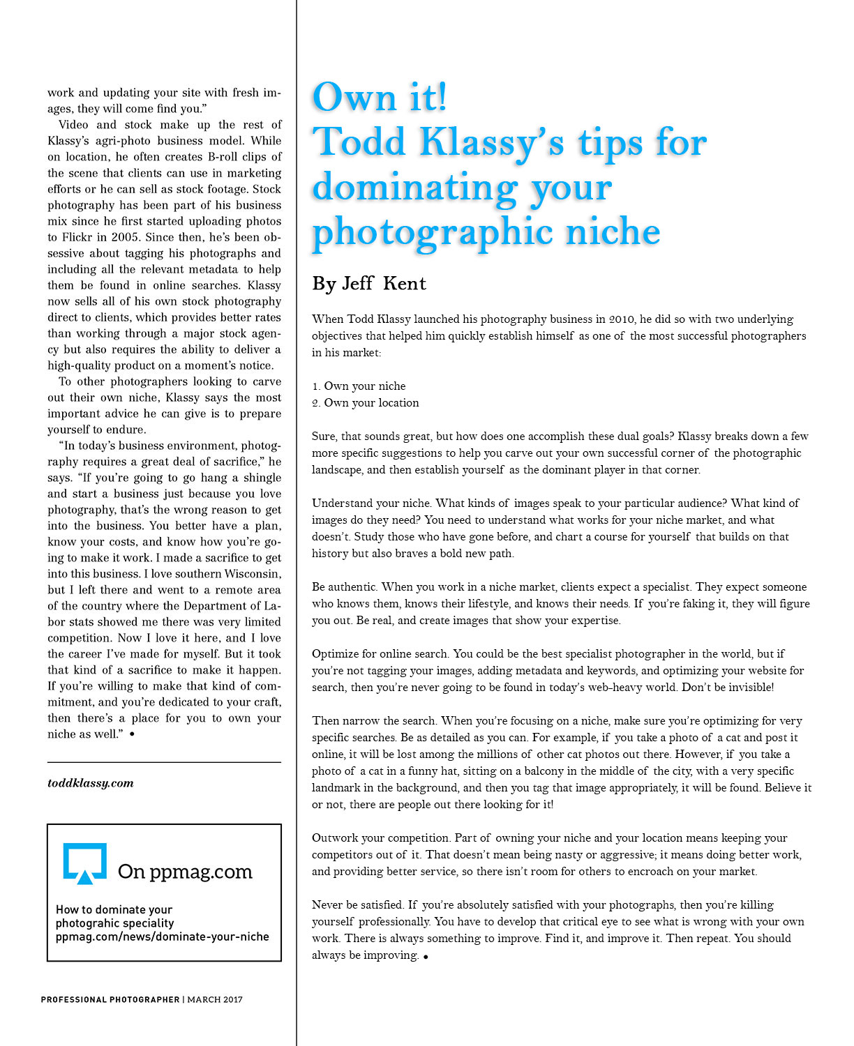 Farm and Ranch Photos Article in Professional Photographers Magazine
