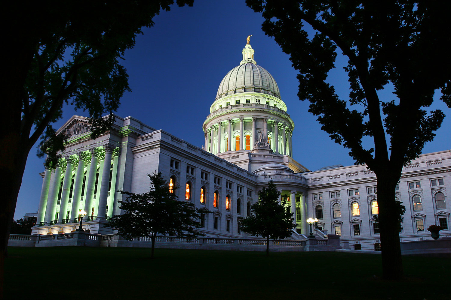 The Wisconsin State Capitol just after its lights came on in Madison, Wisconsin.   → Buy a Print   or   License Photo