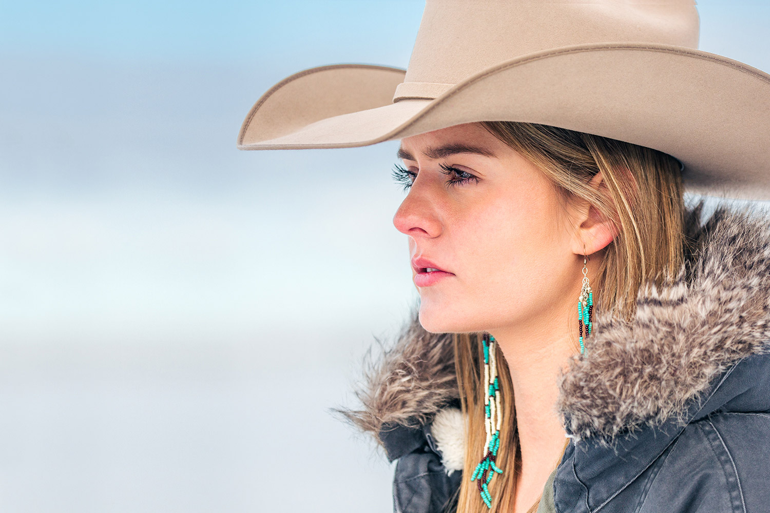 A portrait photo of a cowgirl on a ranch near Bozeman, Montana. See more cowgirl photos at:  Cowgirl Photos