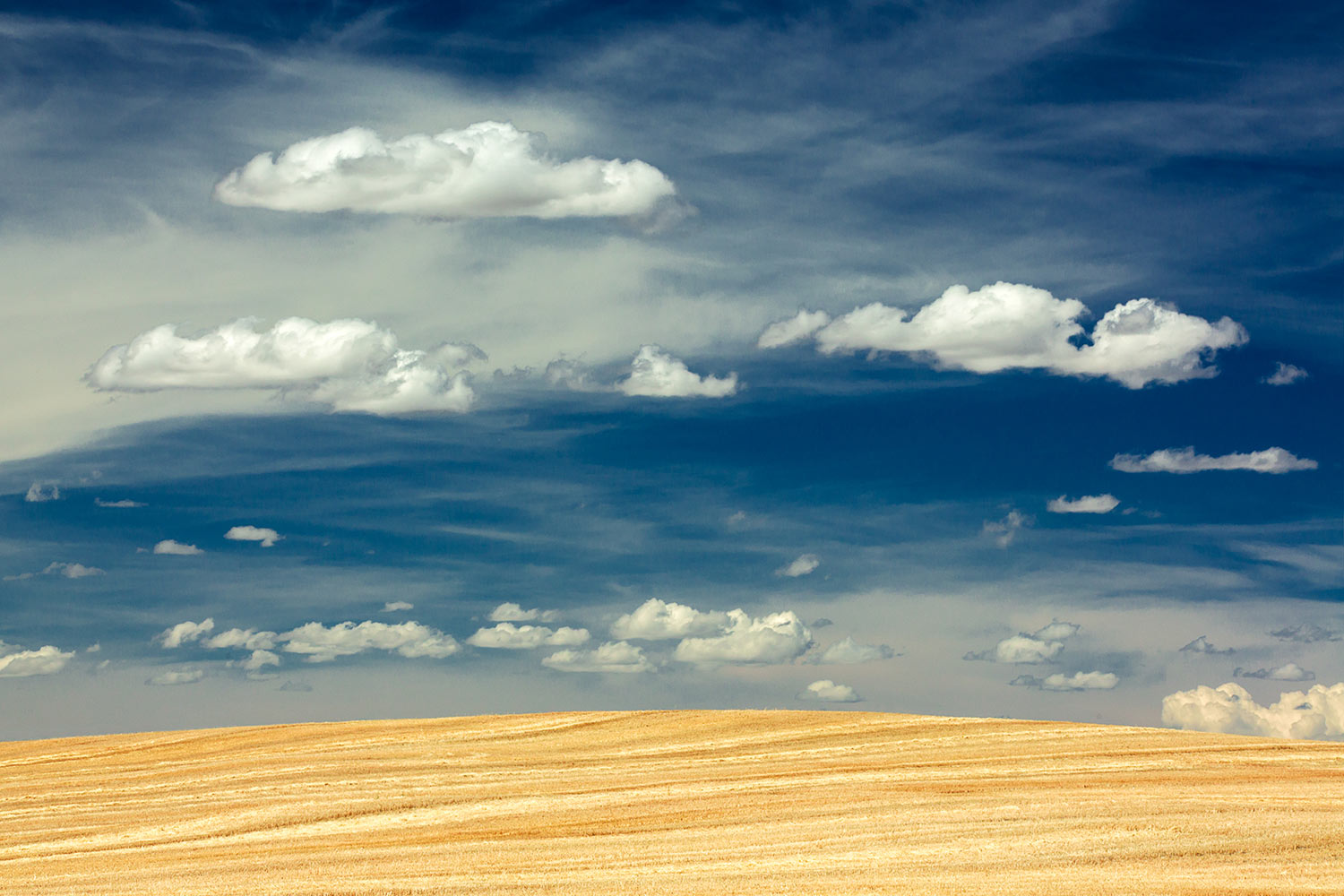 A dramatic sky accentuates a freshly harvested field of wheat near Broadview, Montana.