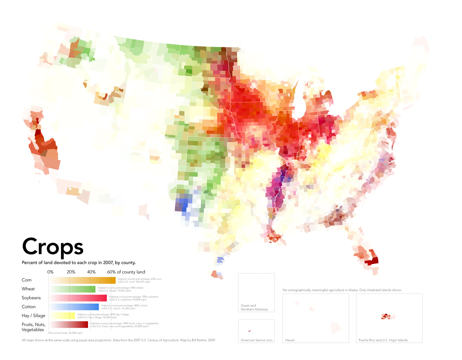 This is a map that shows the percent of land devoted to each agricultural crop in the United States. The data comes from the 2007 U.S. Census of Agriculture.
