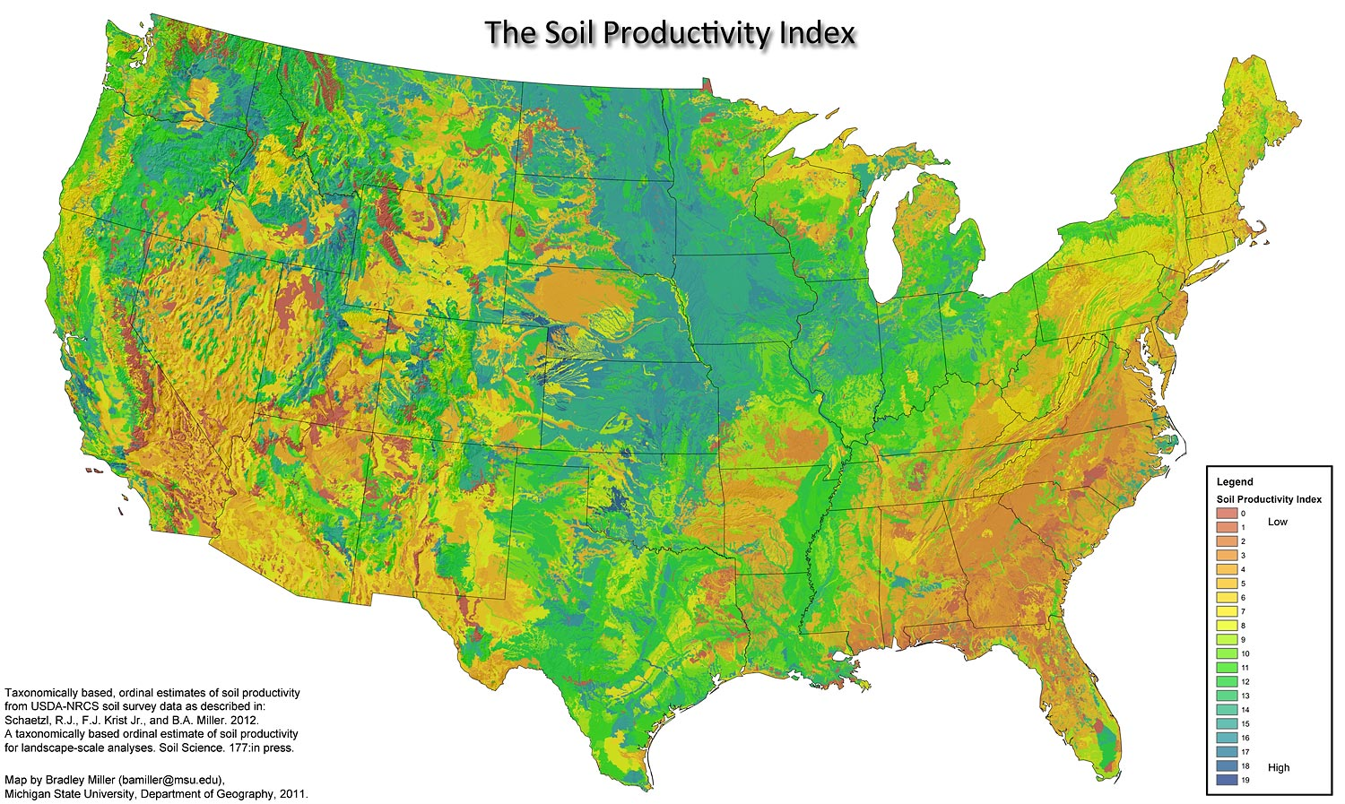 This is a map that denotes the soil productivity in the United States, using data from USDA and NRCS soil survey data. Map created by Michigan State University Department of Geology.