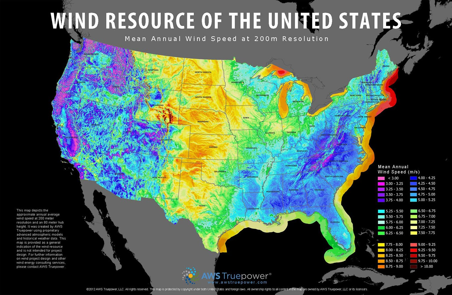 Map Of Average Wind Speeds In The Us Agriculture Stock Photos and Commercial Photographer by Todd