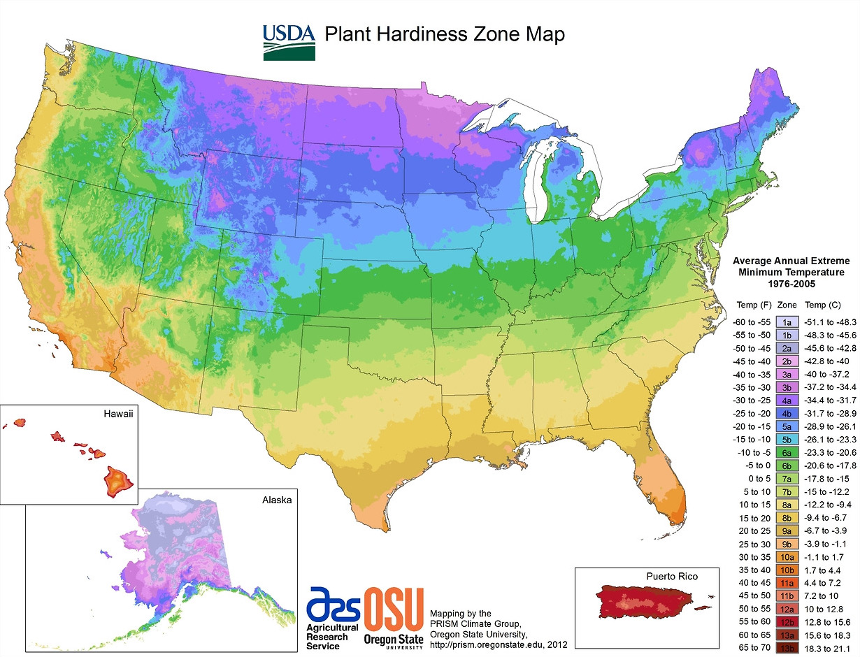 A plant hardiness zone map created by Oregon State University and the PRISM Climate Group using data from the United States Department of Agriculture.