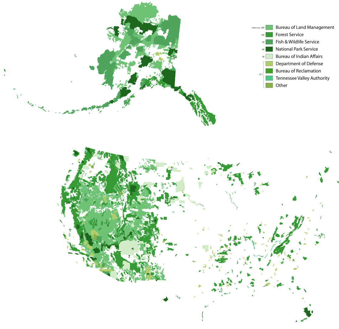 A map denoting the distribution of federally owned land in the United States. Data comes from the Bureau of Land Management and USDA.