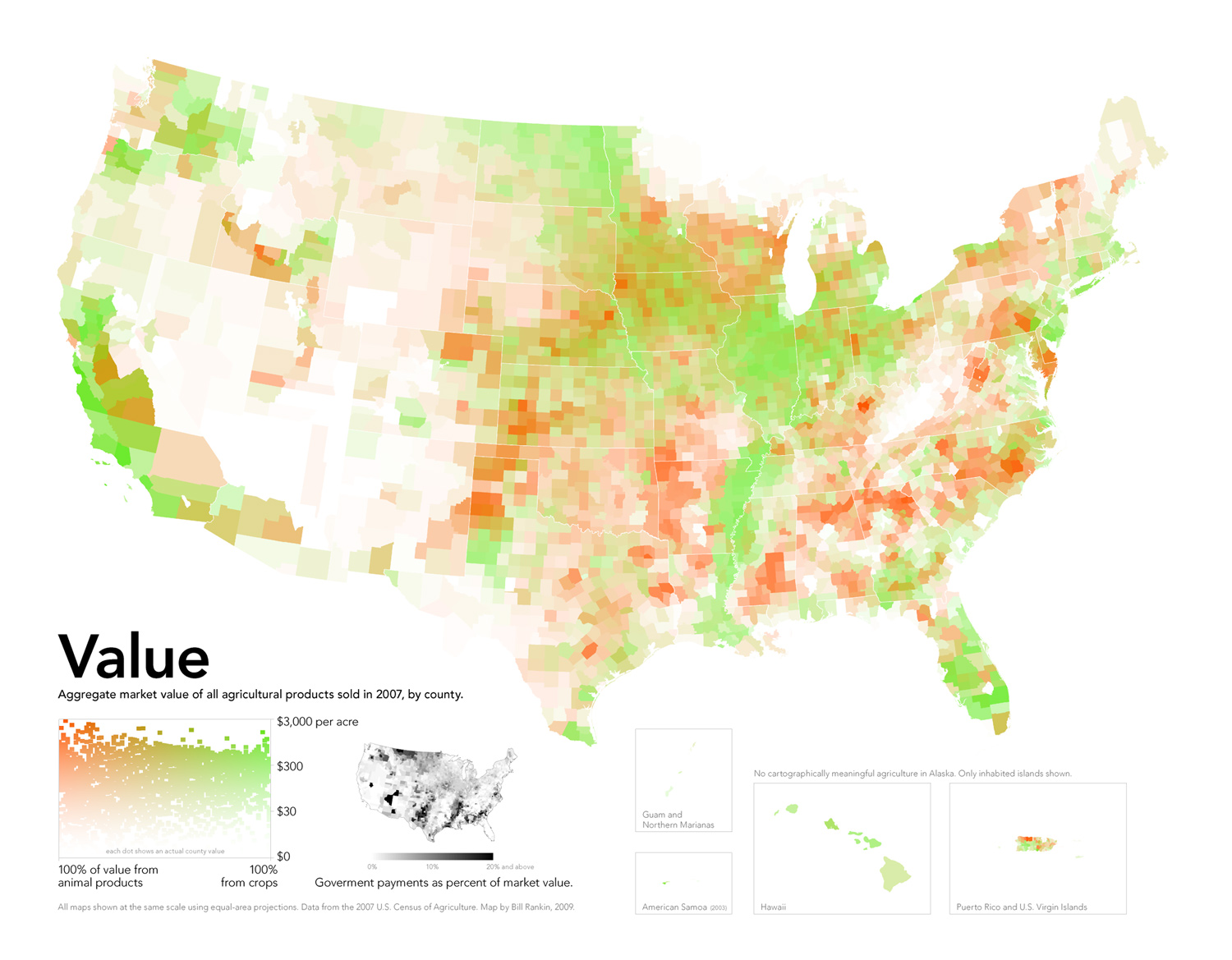 A map showing the aggregate market value of all agricultural products sold by county in the United States. Data comes from the 2007 U.S. Census of Agriculture and USDA.