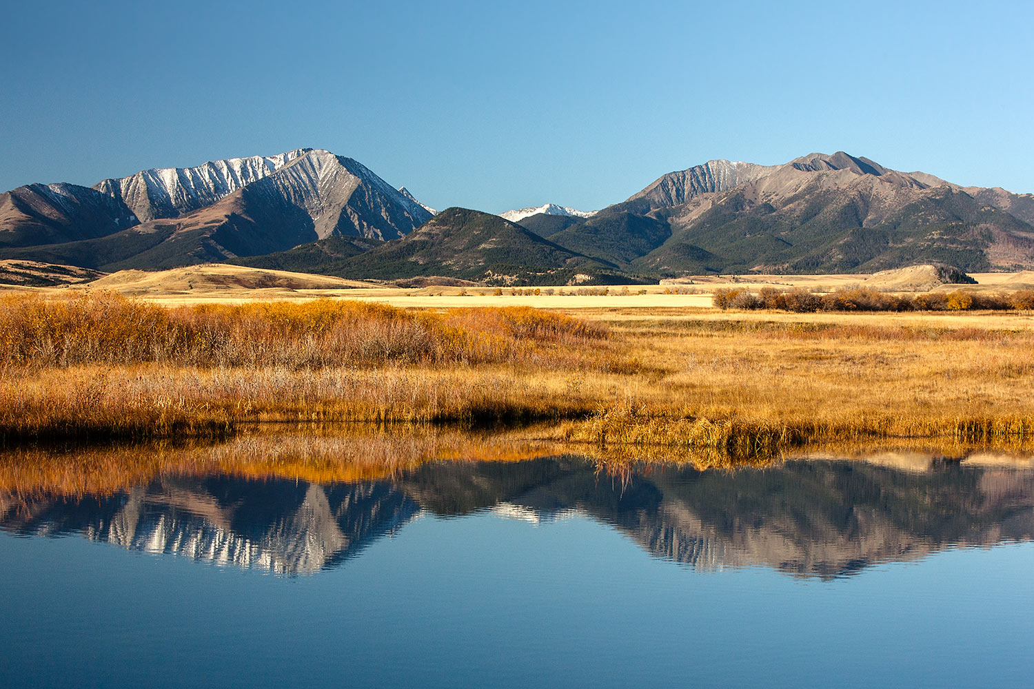 Crazy Mountains reflections near Melville, Montana.  → Buy a Print  or   License Photo