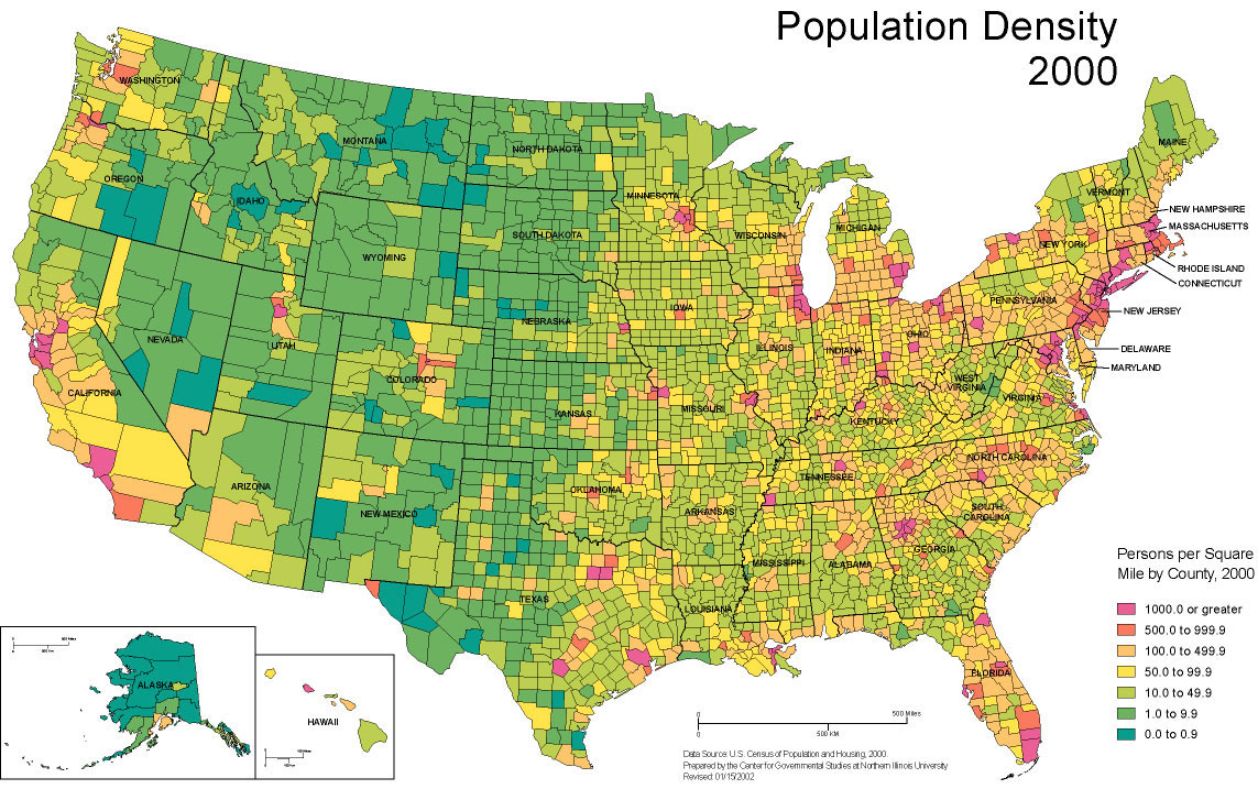 A map denoting the population density in the United States by county created by Center for Government Studies at the Northern Illinois University with data from the 2000 U.S. Census.