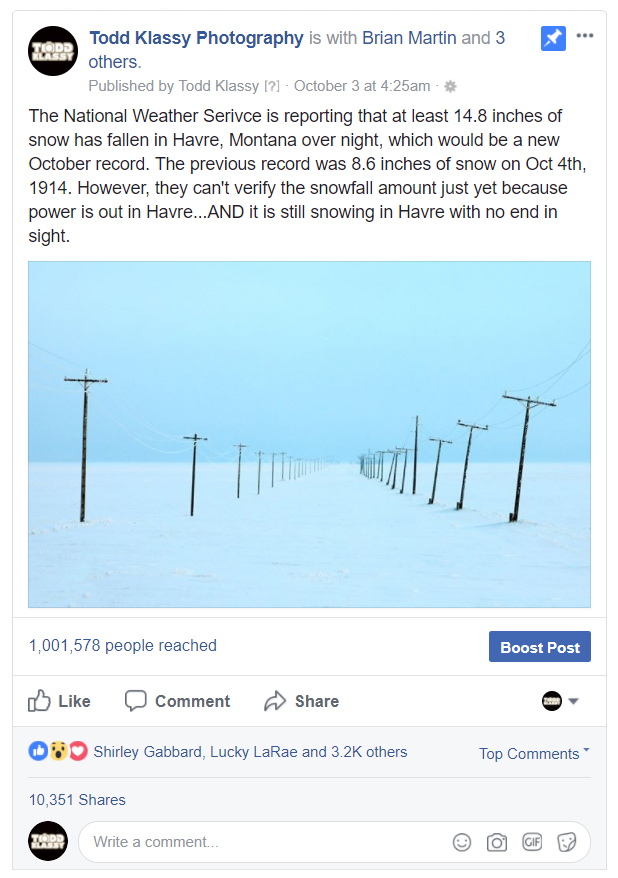 Montana Photo Receives Over 1 Million Views on Facebook