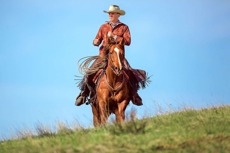 Cowboy Cresting Hill