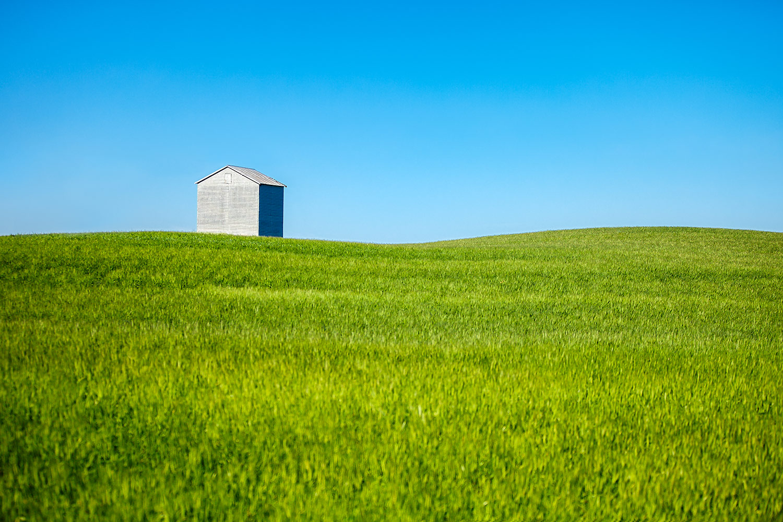 Grain Bin Sits Alone