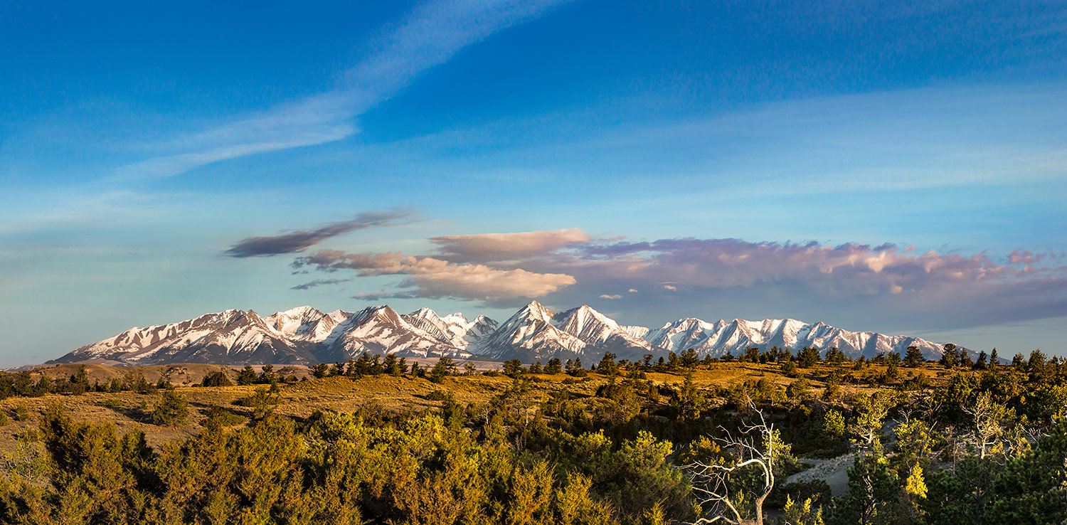 A panoramic view of the Crazy Mountains seen from Big Timber, Montana.   → Buy a Print     or   License Photo