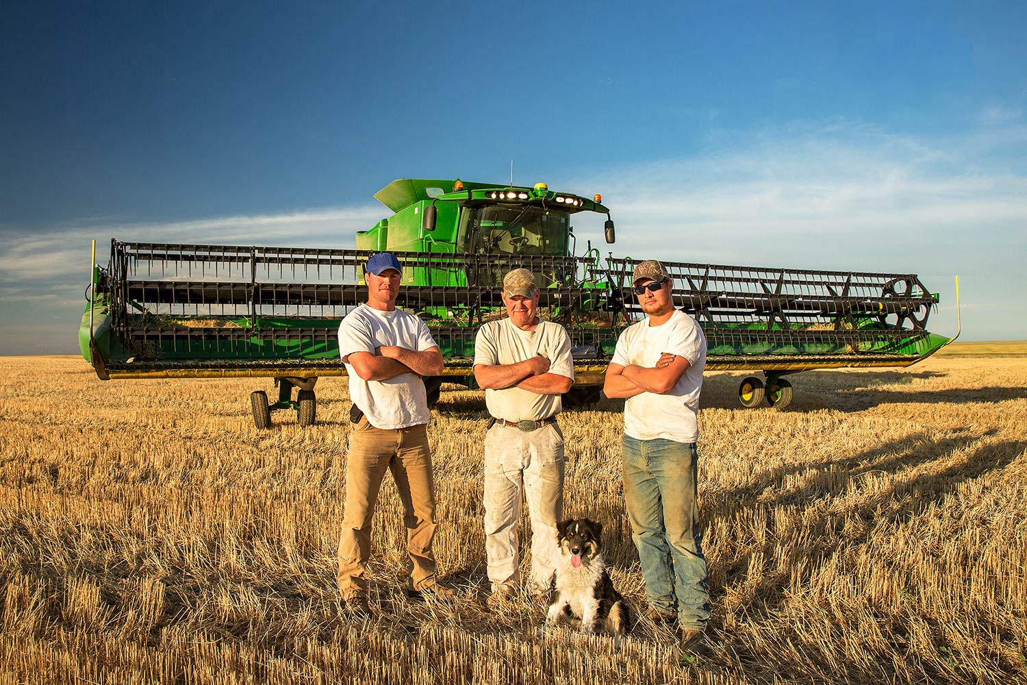 A father and sons stand proudly in front of their harvester on a farm near Chinook, Montana.   → License Photo