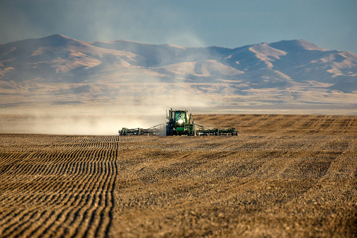 A tractor seeds wheat with mountains in the background near Chinook, Montana.   → Buy a Print   or   License Photo