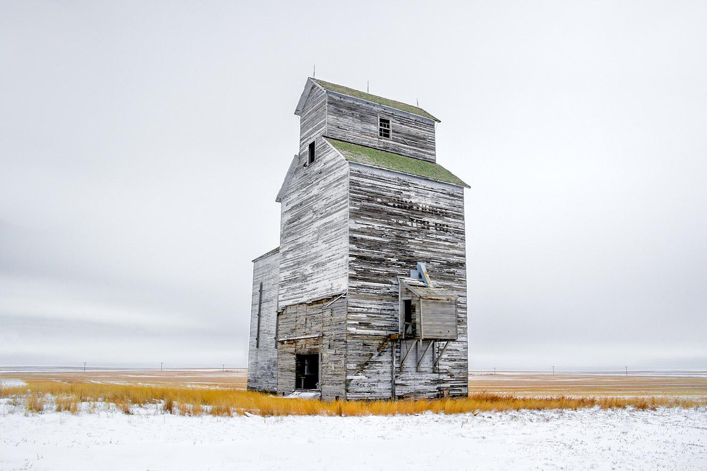 Grain Elevator on White