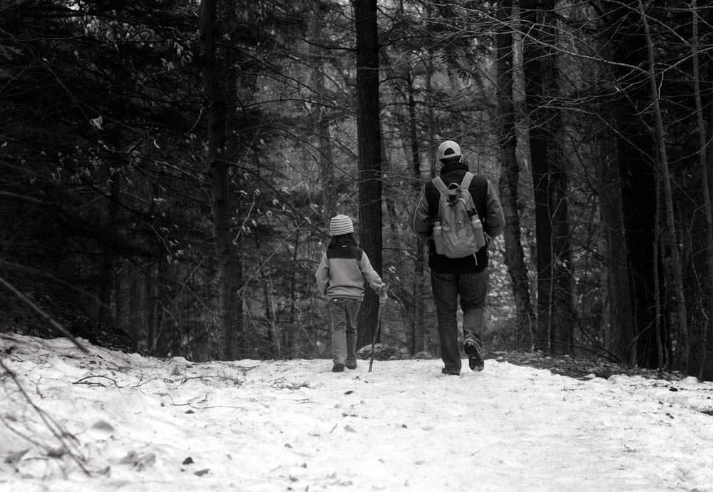 she was showing him the way. because she knows this trail well. End of winter hiking maybe? on April 17th, one can hope.