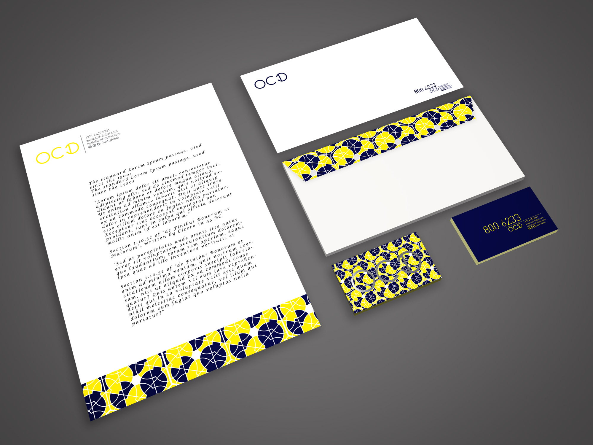 OCD Dubai  - Business Cards, Letterheads and Envelopes reflecting strong Branding