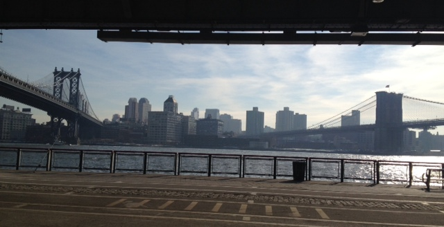 A panoramic of Brooklyn with the two bridges leading into the borough.