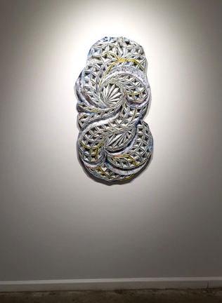 """Devin Powers  , Data Dervish,  48 x 24"""", oil on carved wood, 2014"""