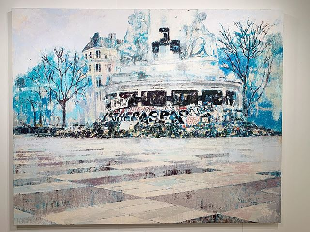 "Enoc Perez ""Place de la Republique, November 2015"", 80 x 100"", oil on canvas, 2019"