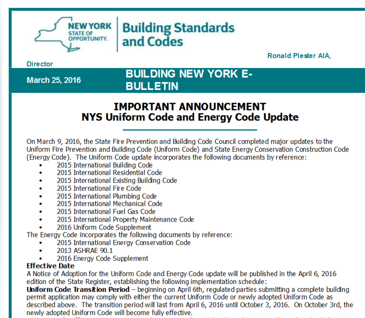 New NYS Residential Building Code Changes in Effect — Peter Podlas