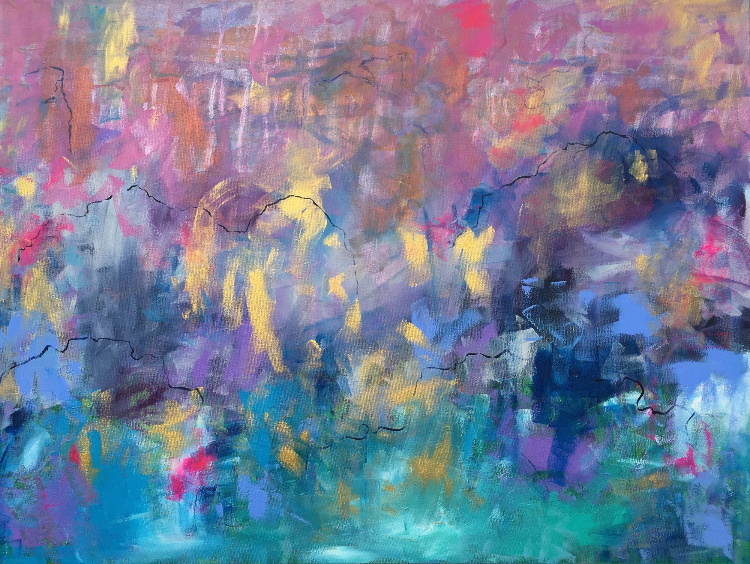 there is a storm in my heart that showed me the way ~ 40x30x1.5 ~ acrylic on canvas