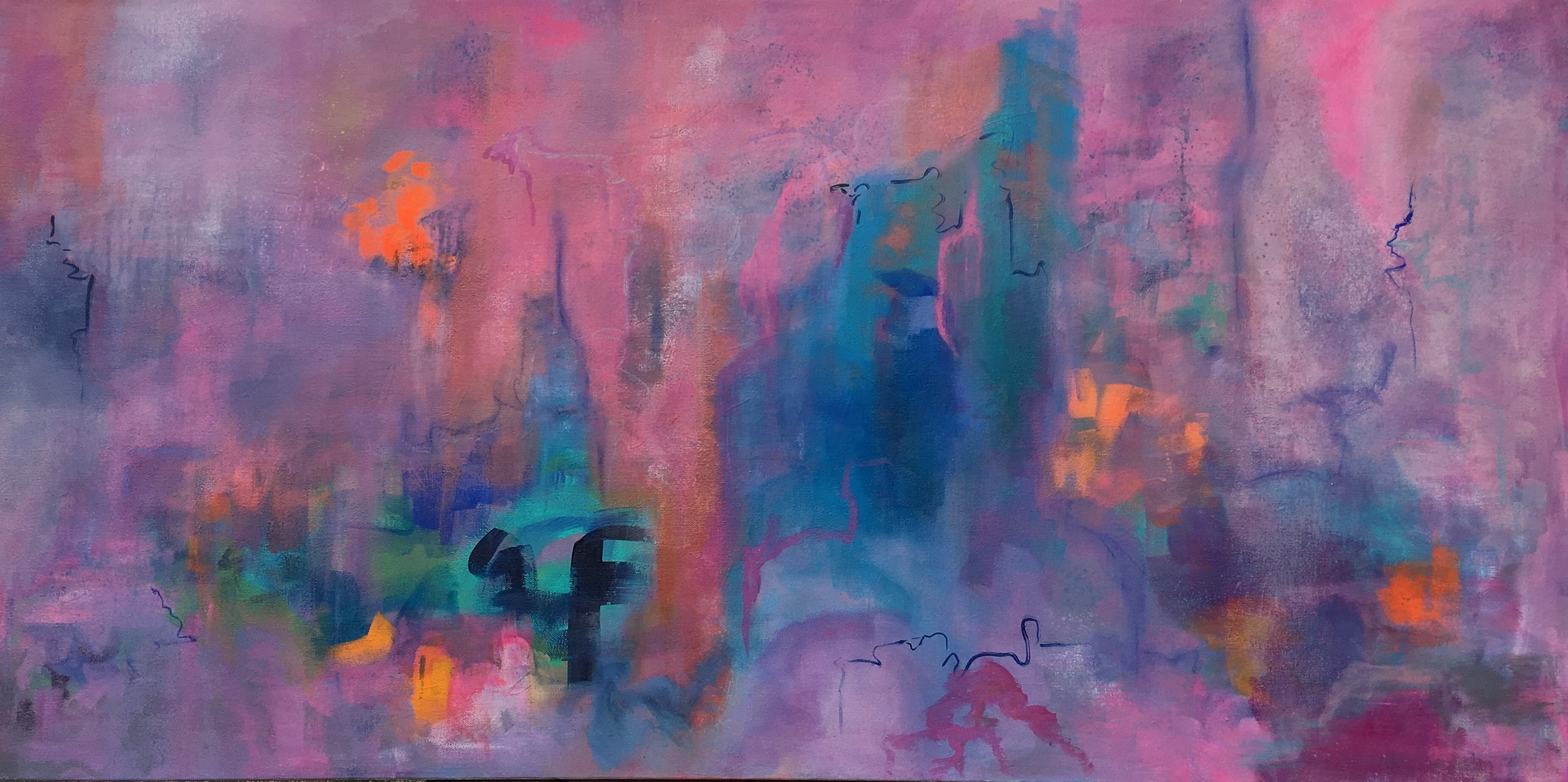 a journey through valentine clouds and brilliance ~ 48x24x1.5 ~ acrylic on canvas