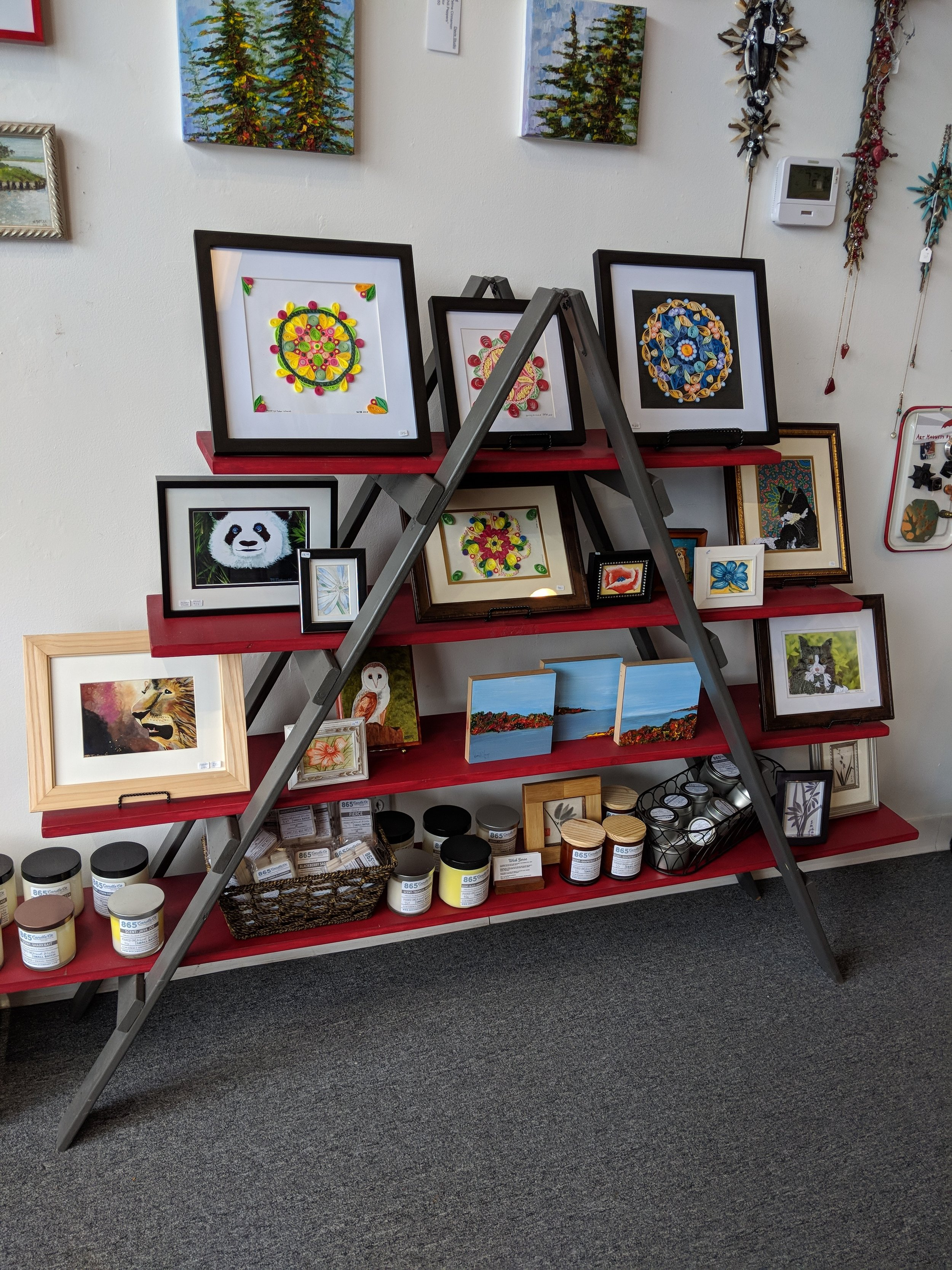 candles, soaps, and beautiful artworks from local artists!